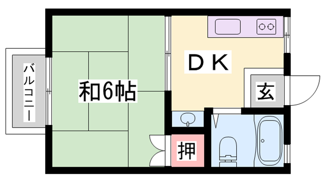 物件番号: 1119452047  姫路市幸町 1DK ハイツ 間取り図