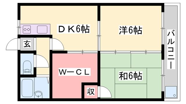 物件番号: 1119452610  姫路市白浜町 2DK マンション 間取り図