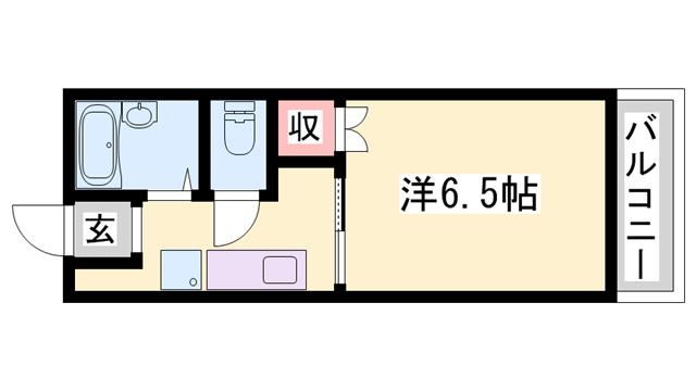 物件番号: 1119452672  姫路市菅生台 1K ハイツ 間取り図