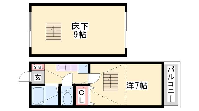 物件番号: 1119452699  姫路市青山西1丁目 1K ハイツ 間取り図