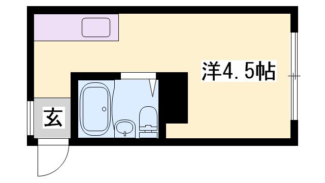 物件番号: 1119453350  姫路市山野井町 1R マンション 間取り図