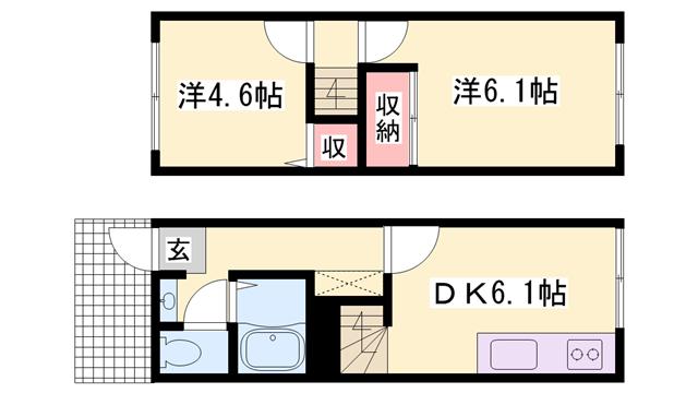 物件番号: 1119454807  姫路市辻井2丁目 2DK ハイツ 間取り図