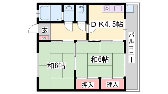 物件番号: 1119454819  姫路市野里上野町1丁目 2DK マンション 間取り図