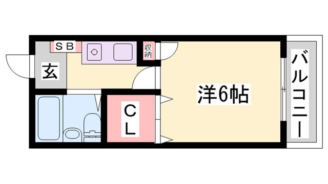 物件番号: 1119455066  姫路市西今宿3丁目 1K マンション 間取り図