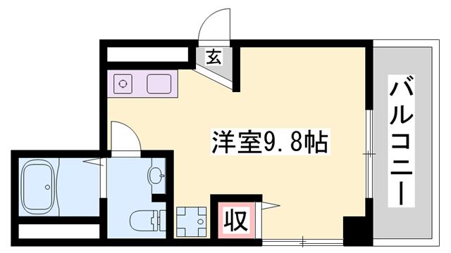物件番号: 1119455102  姫路市伊伝居 1R マンション 間取り図