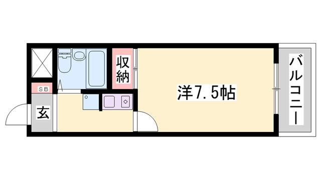 物件番号: 1119455441  姫路市北平野4丁目 1K ハイツ 間取り図