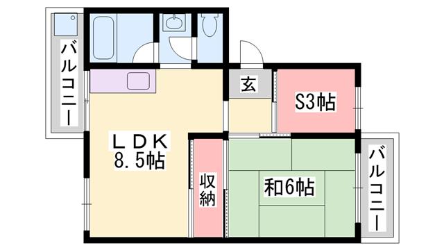 物件番号: 1119455757  姫路市砥堀 1SDK マンション 間取り図