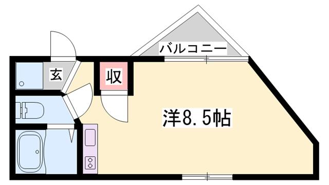 物件番号: 1119456851  姫路市山野井町 1K マンション 間取り図