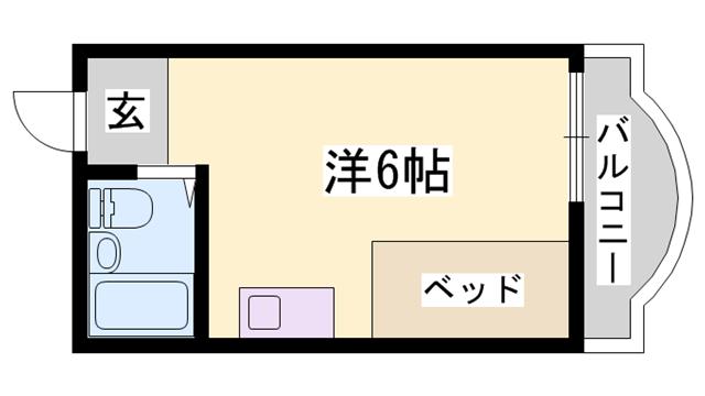 物件番号: 1119456915  神崎郡福崎町福田 1R ハイツ 間取り図
