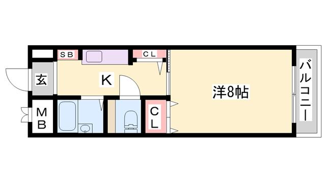 物件番号: 1119457013  加古川市平岡町新在家3丁目 1K マンション 間取り図