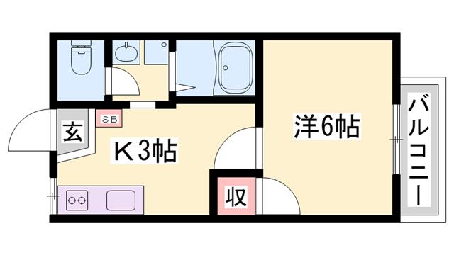 物件番号: 1119457494  小野市下来住町 1K アパート 間取り図