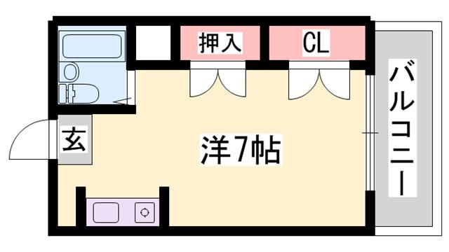 物件番号: 1119458270  姫路市上手野 1R マンション 間取り図