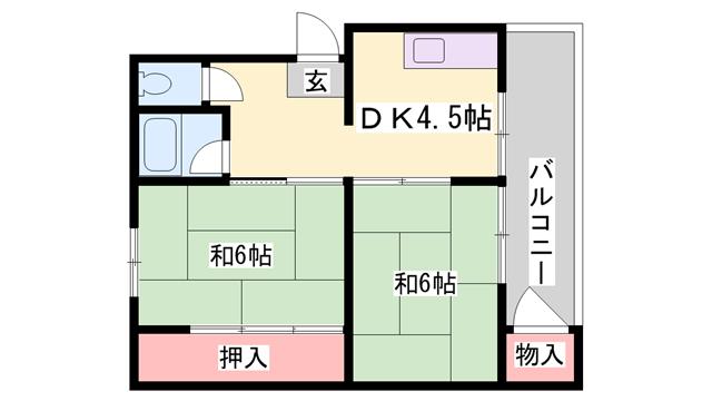 物件番号: 1119459068  姫路市御立中5丁目 2DK マンション 間取り図