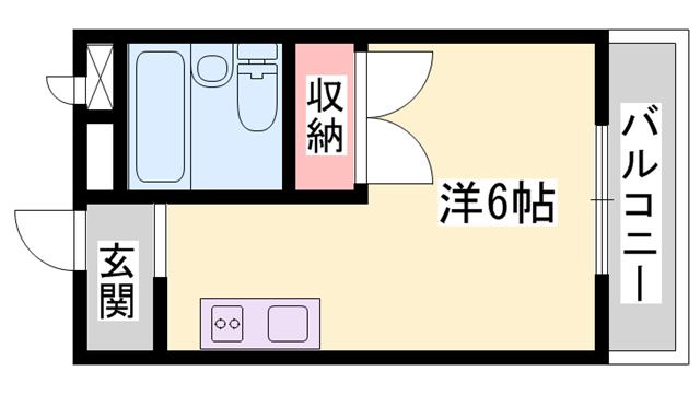 物件番号: 1119459328  姫路市書写 1R ハイツ 間取り図