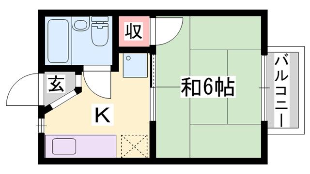 物件番号: 1119459340  姫路市坊主町 1K ハイツ 間取り図