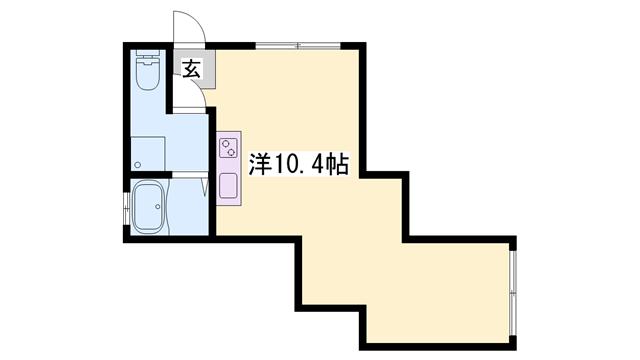物件番号: 1119459795  姫路市東雲町5丁目 1R マンション 間取り図