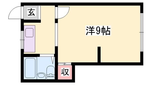 物件番号: 1119459796  姫路市東雲町5丁目 1R マンション 間取り図