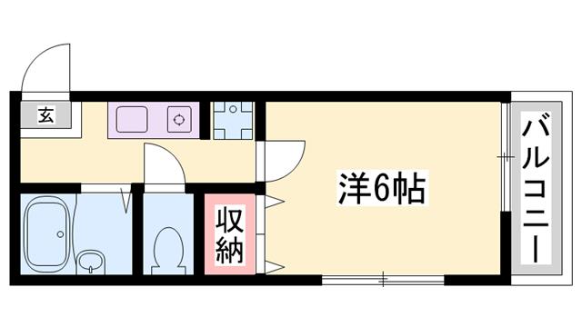 物件番号: 1119461053  姫路市青山4丁目 1K アパート 間取り図
