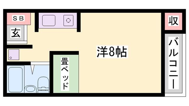 物件番号: 1119461117  姫路市新在家本町4丁目 1R ハイツ 間取り図