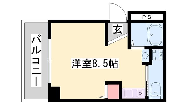 物件番号: 1119461677  姫路市伊伝居 1R マンション 間取り図