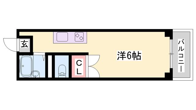 物件番号: 1119461693  姫路市書写台1丁目 1R ハイツ 間取り図