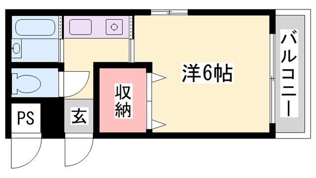 物件番号: 1119461764  姫路市保城 1K マンション 間取り図