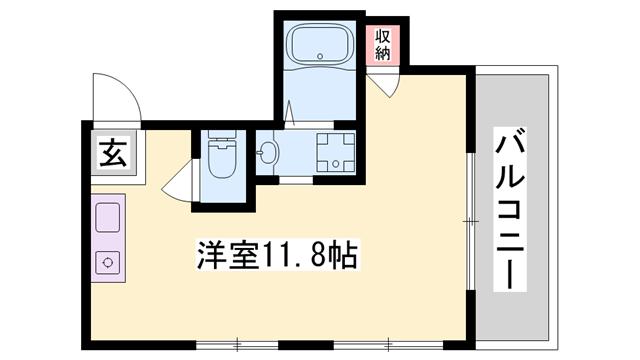 物件番号: 1119462009  姫路市伊伝居 1R マンション 間取り図