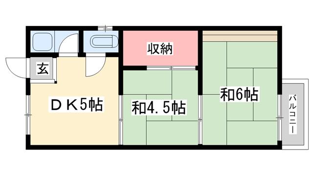 物件番号: 1119462159  姫路市東辻井3丁目 2DK アパート 間取り図