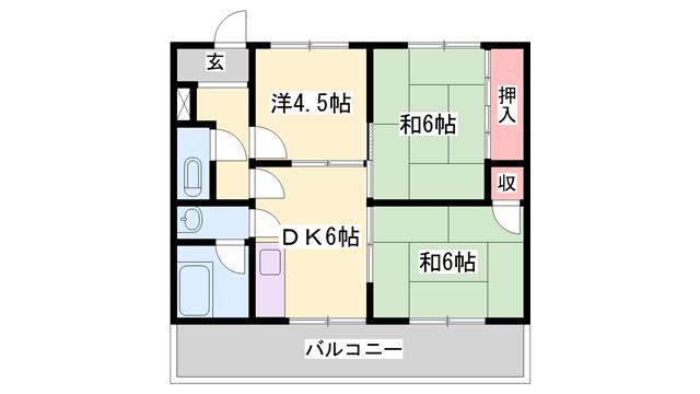 物件番号: 1119462249  姫路市北今宿2丁目 3DK マンション 間取り図