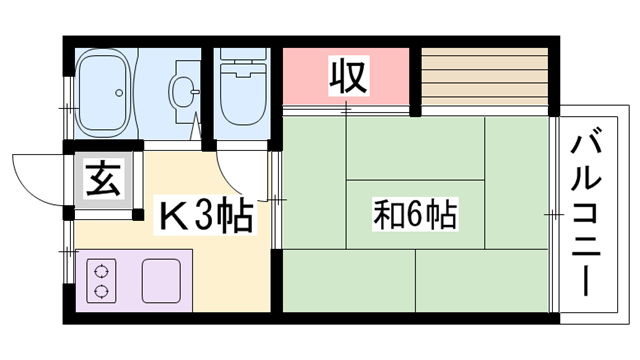 物件番号: 1119462866  姫路市砥堀 1K ハイツ 間取り図