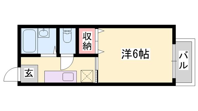 物件番号: 1119463114  姫路市土山2丁目 1K ハイツ 間取り図