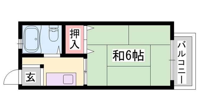 物件番号: 1119463426  姫路市広畑区本町6丁目 1K ハイツ 間取り図