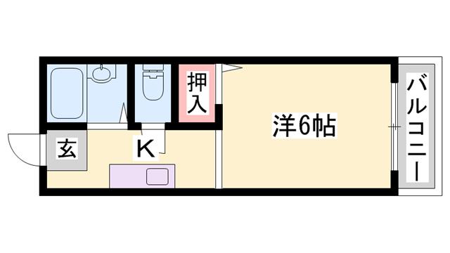 物件番号: 1119463661  姫路市田寺3丁目 1K ハイツ 間取り図