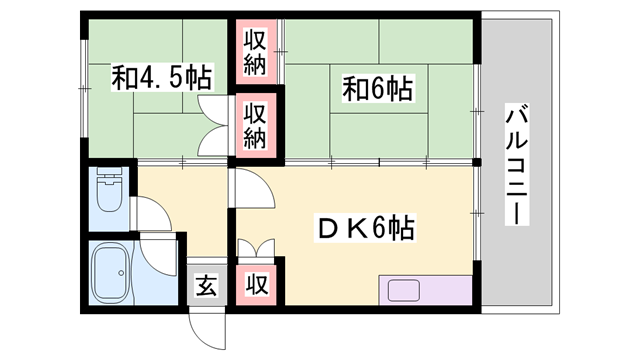 物件番号: 1119464033  姫路市土山2丁目 2DK マンション 間取り図