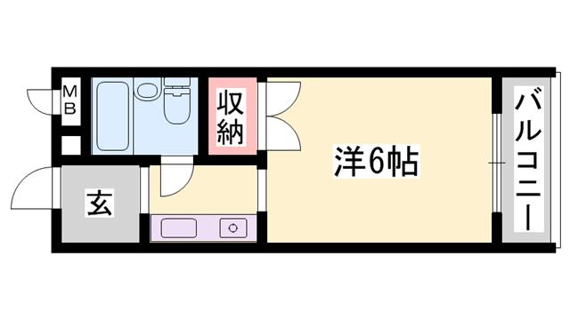 物件番号: 1119464298  姫路市書写 1R ハイツ 間取り図