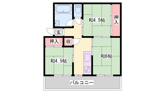 物件番号: 1119465217  加古川市野口町長砂 3K マンション 間取り図