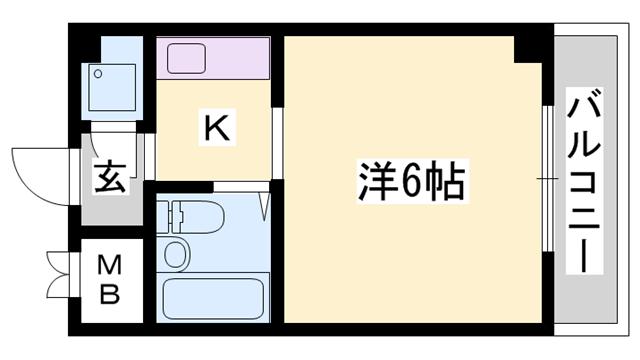 物件番号: 1119465475  姫路市城北新町2丁目 1K マンション 間取り図