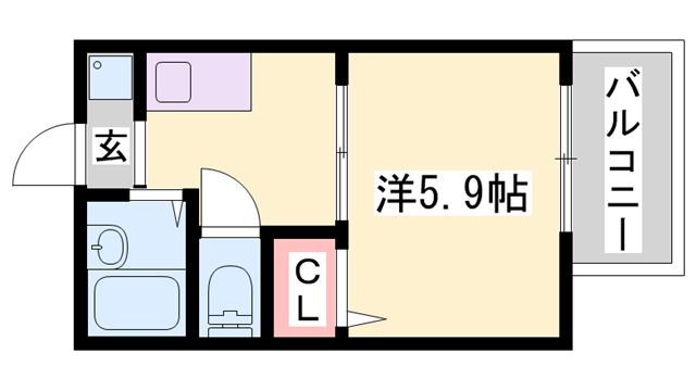 物件番号: 1119465852  小野市垂井町 1K ハイツ 間取り図