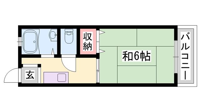 物件番号: 1119466144  姫路市上大野1丁目 1K ハイツ 間取り図