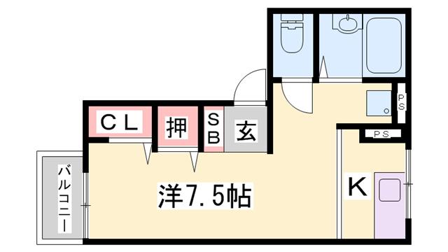物件番号: 1119467112  姫路市砥堀 1K ハイツ 間取り図