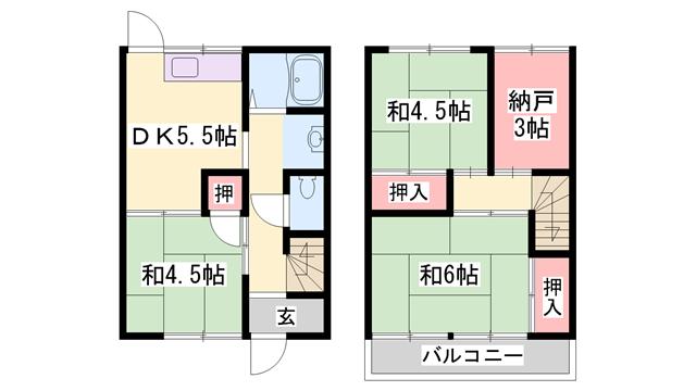 物件番号: 1119467352  加古川市尾上町池田 3SDK 貸家 間取り図