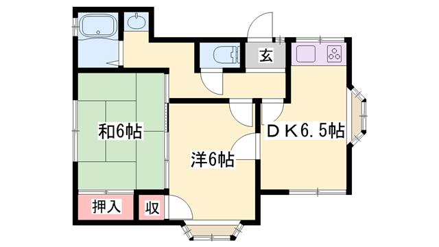物件番号: 1119467436  姫路市北原 2DK ハイツ 間取り図