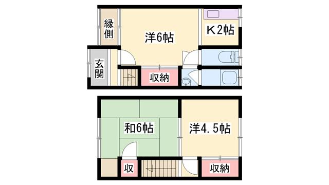 物件番号: 1119467453  加古川市尾上町養田 3K テラスハウス 間取り図