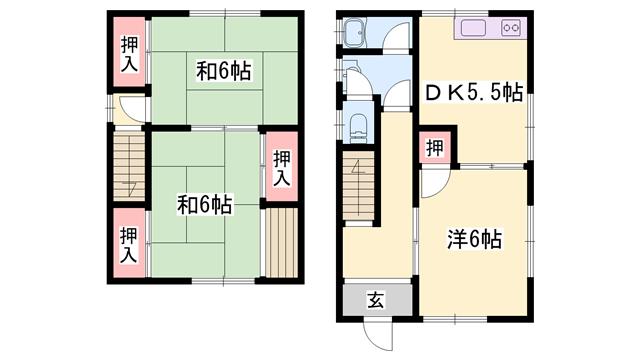 物件番号: 1119467514  姫路市白国5丁目 3DK 貸家 間取り図