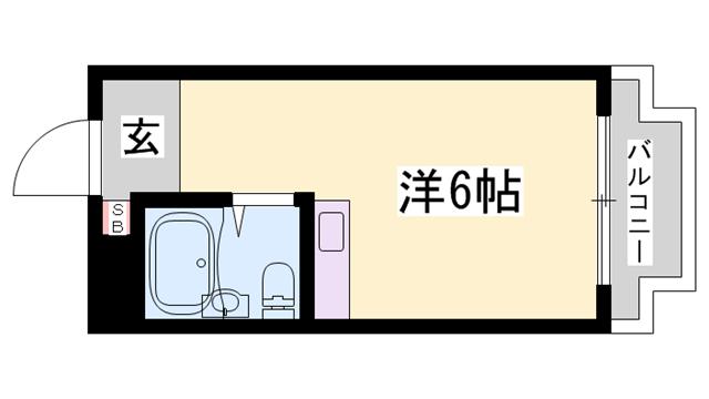 物件番号: 1119467707  姫路市白国5丁目 1R マンション 間取り図