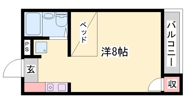 物件番号: 1119467747  姫路市新在家本町4丁目 1R ハイツ 間取り図