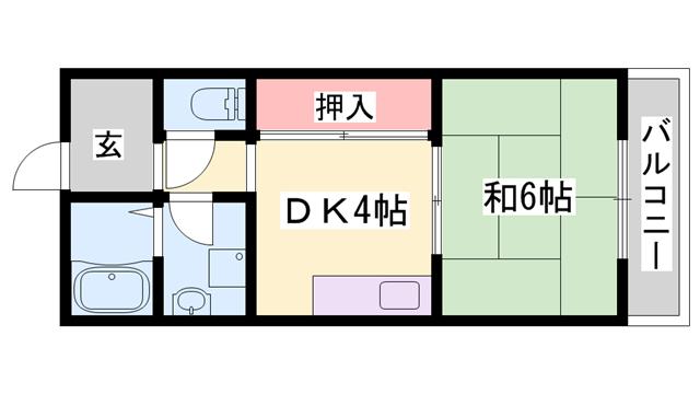 物件番号: 1119468240  姫路市広畑区蒲田5丁目 1DK アパート 間取り図