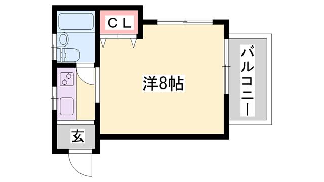 物件番号: 1119469217  加古川市米田町平津 1R ハイツ 間取り図
