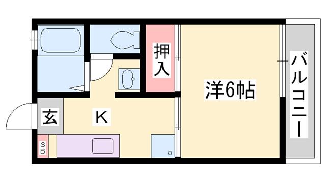 物件番号: 1119469352  姫路市北平野4丁目 1K ハイツ 間取り図