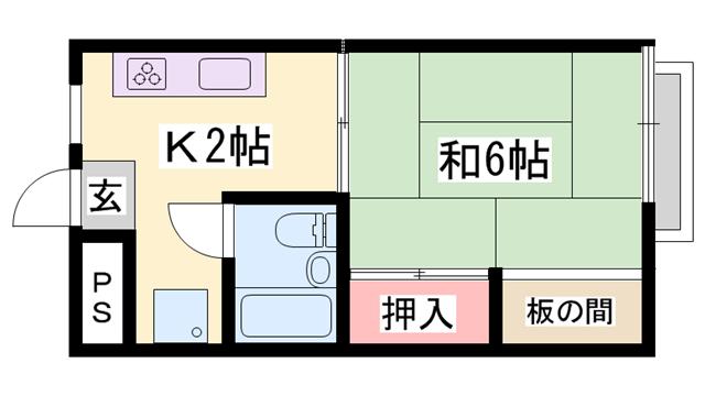 物件番号: 1119469397  姫路市西中島 1K マンション 間取り図